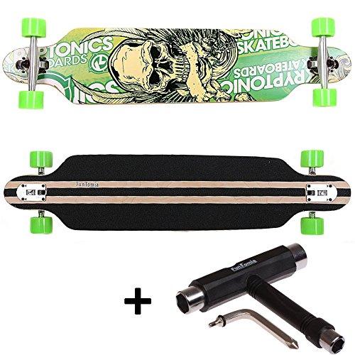 FunTomia® Longboard Skateboard Board Skaten Cruiser Komplettboard mit ABEC-11 High Speed Kugellager T-Tool (Modell Freerider - Farbe Grün Totenkopf + T-Tool)