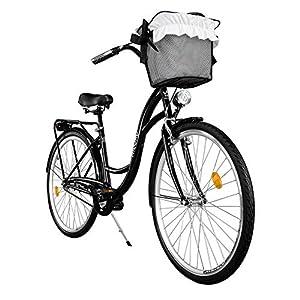 """51JcIPUA%2BDL. SS300 Milord. Comfort Bike con Cesto, Bicicletta da Città Donna, 1 velocità, Nero, 28"""""""