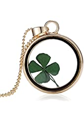 FM42 Dried Leaves Lucky 4-Leaf Clover Round Glass Locket Pendant Necklace FN2019