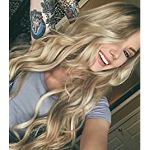 Zenith Dark Rooted Light Blonde Lace Front Wigs for Women Best Synthetic Hair Wavy Wig with Flawless Hairline 24 inches Heat Safe