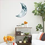 Ecosin 3D PVC Luminous Large Moon Fluorescent Wall Sticker Removable Glow In The Dark Stick