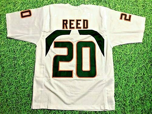 ED REED WHITE MIAMI CUSTOM STITCHED NEW FOOTBALL JERSEY MEN'S XL