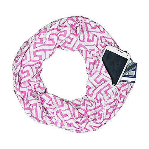 Free Lace Scarf Pattern - Womens Greek Key Pattern Infinity Scarf Wrap Soft Warm Scarf White Zipper Pocket, Infinity Scarves (Pink, Free Size :19.6x62.9 inch)