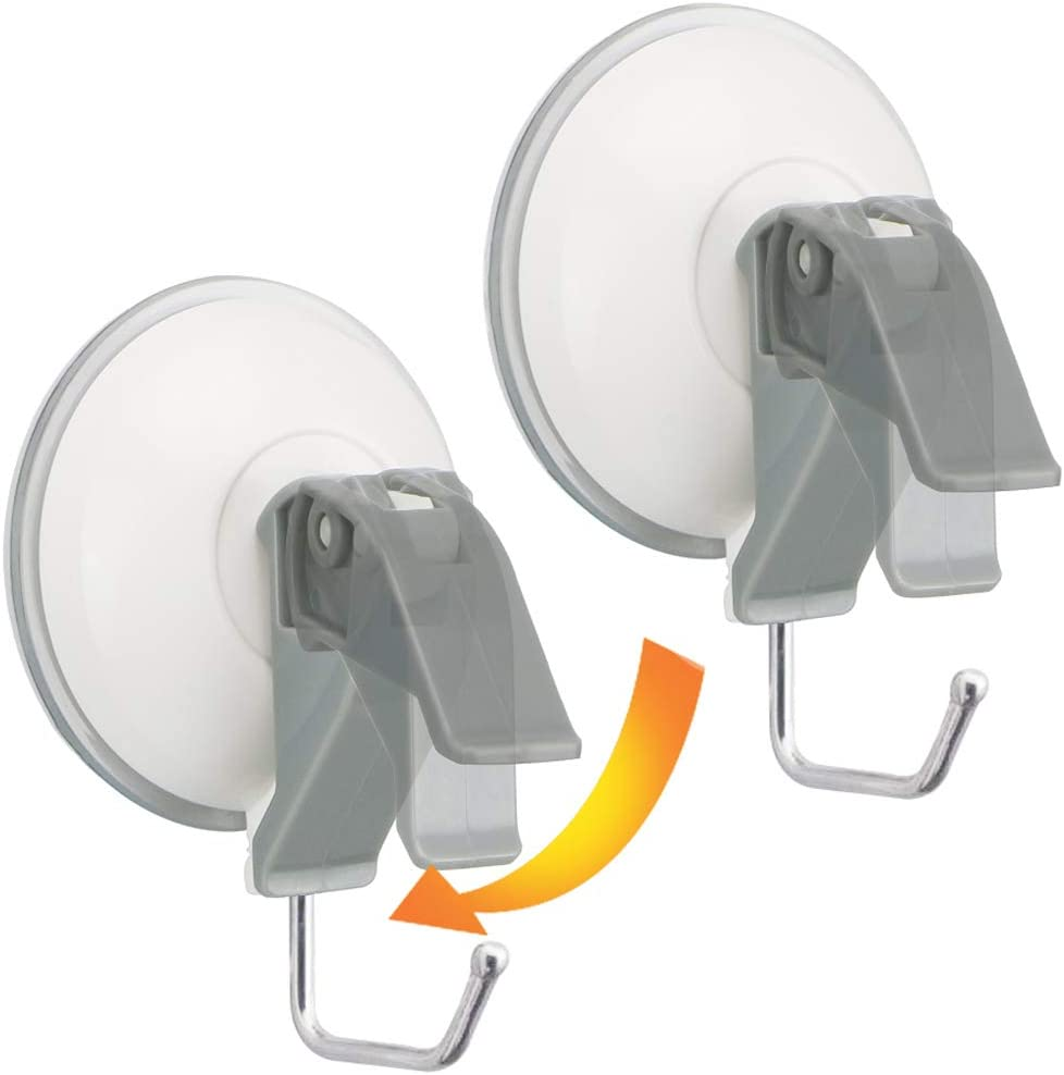 Powerful Suction Cup with Stainless Steel Hooks 2 inch - Heavy Duty Wall Vacuum Suction Holders Hold up to 3KG - Removable Bathroom & Kitchen Hooks Hanger for Towel,loofah - 2 Packs