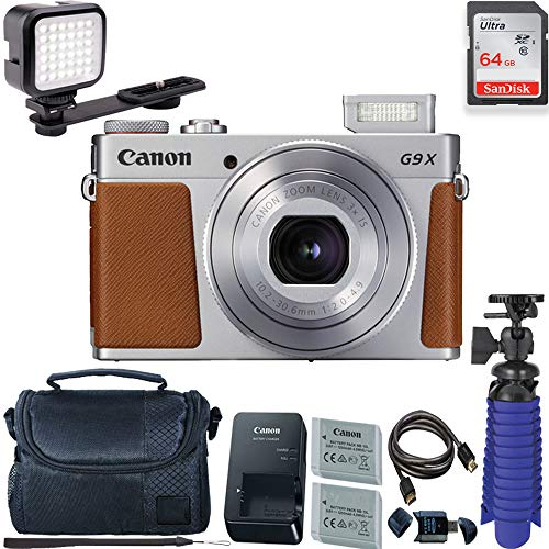 Canon PowerShot G9 X Mark II Digital Camera (Silver) with 64 GB + LED Compact On-Camera Light Card + Premium Camera Case + 2 Batteries + Tripod