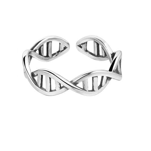 Anillo  ajustable con diseño de cadena de ADN