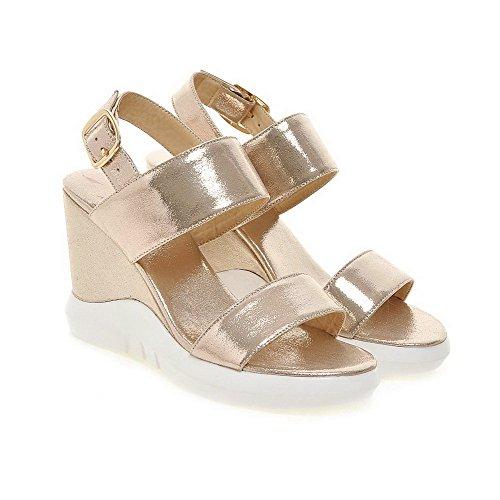 VogueZone009 Women's Metal Open Toe High Heels PU Solid Sandals Silver 65Gdmd