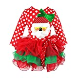 Baywell Baby Toddler Christmas Dress, Polka Dots Santas Claus Long Sleeve Tutu Dress (130/XXL/5-6 Years, Red)