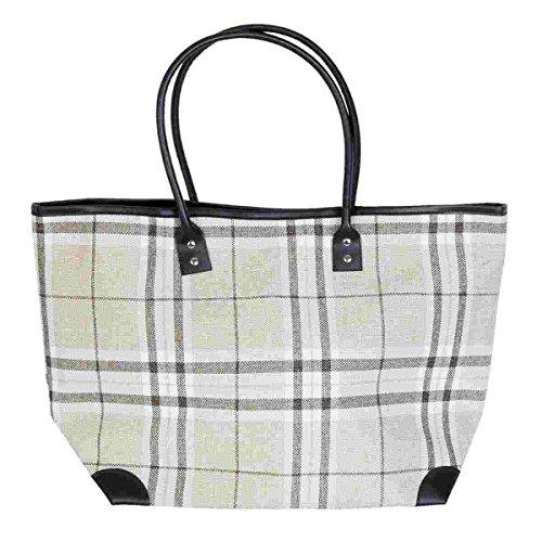 Clayre & Eef BAG279 Tasche Shopper Strandtasche Einkaufstasche kariert ca. 40 x 16 x 35 cm