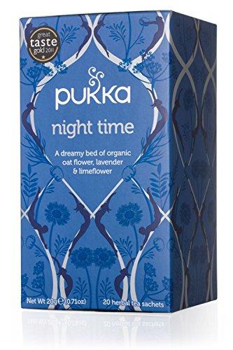 Pukka Herbal Teas Night Time Organic Oat Flower Lavender and Lime Flower Tea, 20g 20 Count