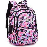 Geometric Backpack Primary School Book Bag for Girls Boys 8-12 Years Old, Uniuooi Waterproof Travel Rucksack Kids Satchel (Black)
