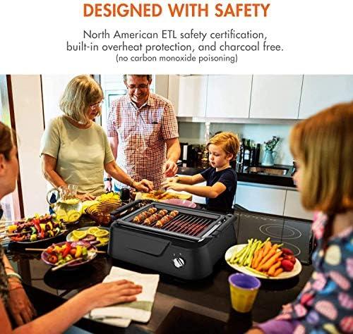FLL Gril Infrarouge sans fumée, Gril intérieur, Gril de Table électrique Chauffant, Gril de Barbecue antiadhésif Facile à Nettoyer, pour la fête/la Maison