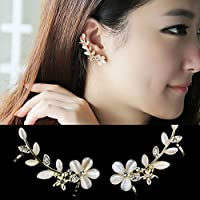 Women Elegant Flower Shape Rhinestone Left Ear Cuff Clip Golden Stud Earring Hot