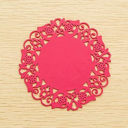 Smartrich Diamè tre 15 cm Dentelle ronde papier napperons Table basse Verre Silicone Tasse Tapis de silicone Pad Set de table Accessoires de Cuisine, Silicone, rose, 15 cm 15cm