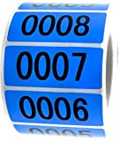 """Blue Enzo Consecutively Numbered Sticker Labels 1.5 x 0.75"""" Water Proof Oil Resistance from Serial Number 1 to 1000 1.7"""" Core Roll"""