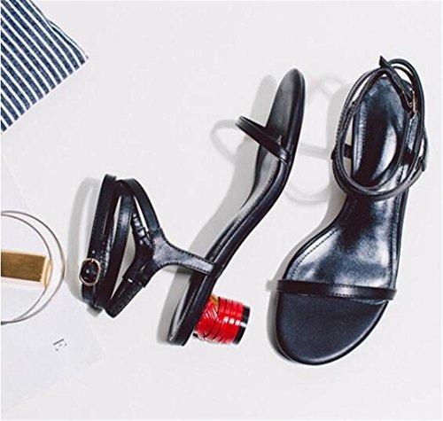 YEEY Sandalias de cuero genuinas verano para damas correas grueso talón casual Walk Outdoor negro Black