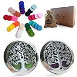 Essential Oil Car Diffuser Aromatherapy - 35mm Stainless Steel Diffuser Locket Vent Clips 2 Pack Unique Design, Desk, Yoga, Travel Nontoxic EcoFriendly All Natural EO Air Freshener, Gift Set 36pc Pads