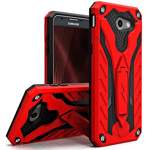 Cell Accessories For Less (TM) Samsung Galaxy J7 J727 2017 - Static Dual Layer Hybrid Case Cover Kickstand - Red/Black Bundle (Stylus & Micro Cleaning Cloth) - By TheTargetBuys