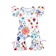 Dinlong Newborn Infant Kid Baby Girls Clothes Floral Ruffle Print Romper Outfits