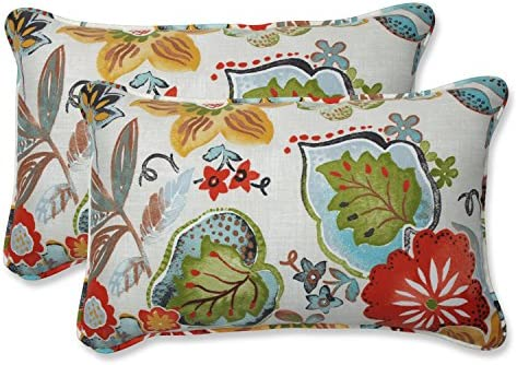Pillow Perfect Outdoor Indoor Alatriste Ivory Rectangular Throw Pillow Set of 2, 2 Piece