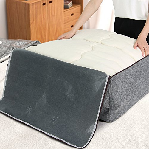 Lifewit Water Resistant Thick Large Capacity Storage Bag, Folding Linen Storage Organizer Bags, Under Bed Storage, College Carrying Bag for Bedding Comforters, Blanket, Clothes, 100L, Grey by Lifewit (Image #4)