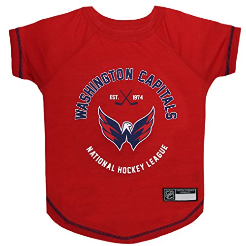 NHL WASHINGTON CAPITALS Tee Shirt for DOGS & CATS, Medium. - Are you a HOCKEY FAN? Let your Pet be an NHL FAN too! (Fan Dog T-shirt 1 Pet)