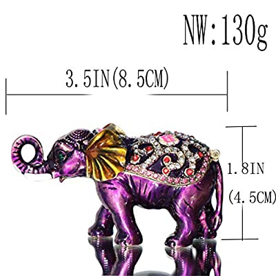 Waltz&F Purple Elephant Hinged Trinket Box Bejeweled Hand-Painted Ring Holder Animal Figurine Collectible