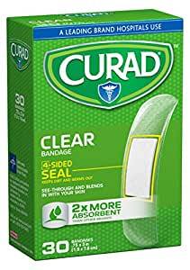 Curad Clear Plastic Self-Adhesive-Bandages, 3/4 Inch x 3 Inch, 30 Count (Pack of 6)