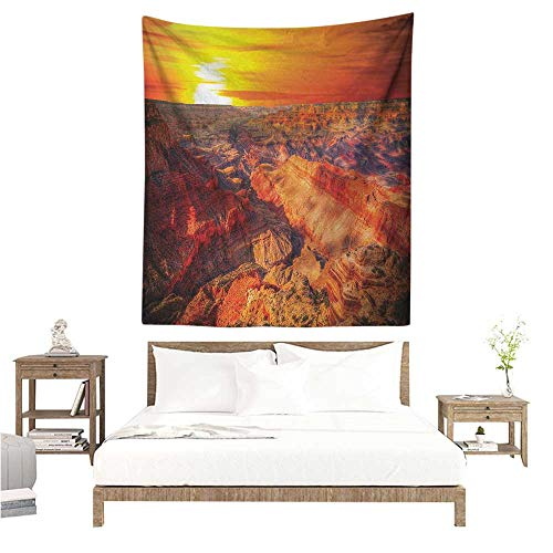 Canyon Decorative Tapestry Horizon Overview Unique Grand Canyon Photo Saturated with Warm Color Effects Sunset Home Decorations for Bedroom Dorm Decor 54W x 84L INCH Orange