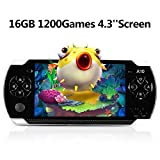 "Handheld Game Console, 16GB 4.3"" Screen 1200 Classic Games, Portable Video Game Console,Support Arcade Games/GBA/GBC/NES/BIN/SMC, The best birthday gift or holiday gift for kids– Black"