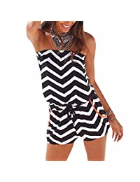 Seaside Beach Women Strapless Wave Stripes Tube-Tops Shorts Jumpsuits Rompers
