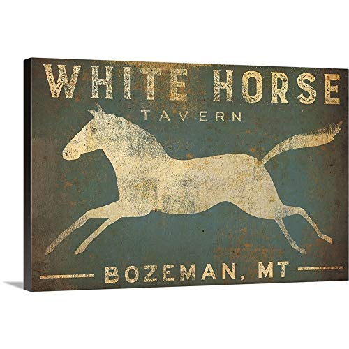 - Ryan Fowler Solid-Faced Canvas Print Wall Art Print Entitled White Horse Running 30
