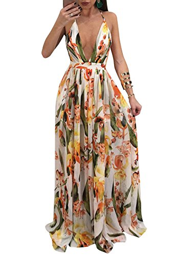 - Remelon Womens Sexy Spaghetti Strap Deep V Neck Floral Boho Criss Cross Backless Chiffon Beach Party Long Maxi Dress Yellow S