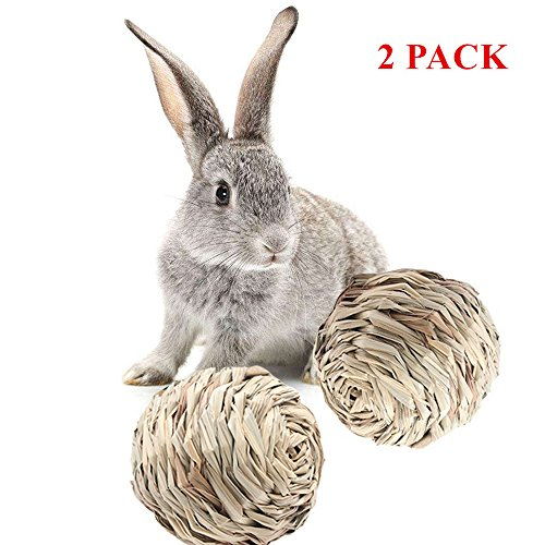 Mihachi Rabbit Toys - 2 PACK Natural Woven Grass Ball with Bell Inside, Pet Chew Toys for Rabbits, Guinea Pigs, Chinchillas, Hamsters, Ferrets and Small Animals ()