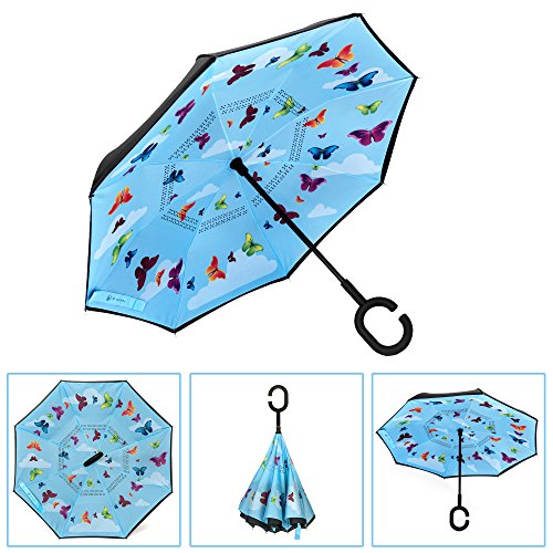 Brightman Small Inverted Butterfly Umbrella for Kids Reverse Umbrella Double Layer Folding Umbrella Windproof UV Protection Smaller Umbrella for Car School Rain Outdoor With C-Shaped Handle (Source Umbrella)