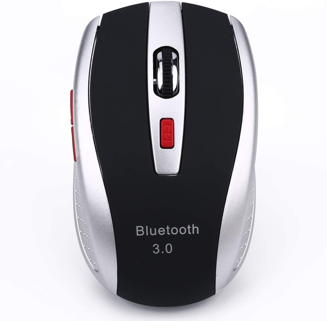 Red ONEMO 2400DPI Four-Speed Adjustable Bluetooth 3.0 Wireless Optical Mouse Color : Silver