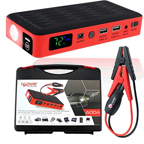 HALF Minute Power 600A Peak 35520mWh 12V Portable Car Battery Jump Starter Emergency Booster Charger and Auto Bank Power Pack with a Gift Ec-5 Cigarette Lighter Socket (Black/Red) 12v Ac Battery Booster