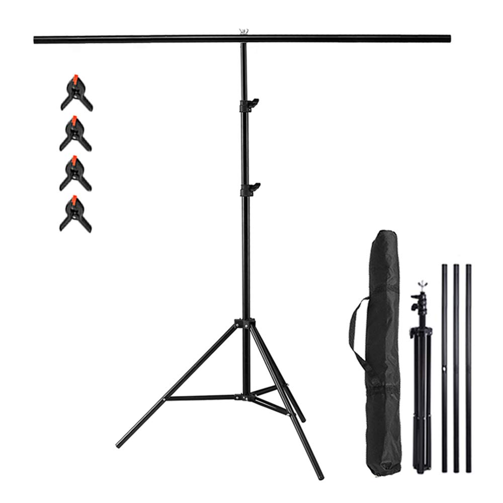 Selens T-Shape Backdrop Stand 6.56ft x 6.56ft / 2M x2M Background Support System with Carrying Bag & Clips Kit for Muslin Vinyl Background,Photo and Video Studio