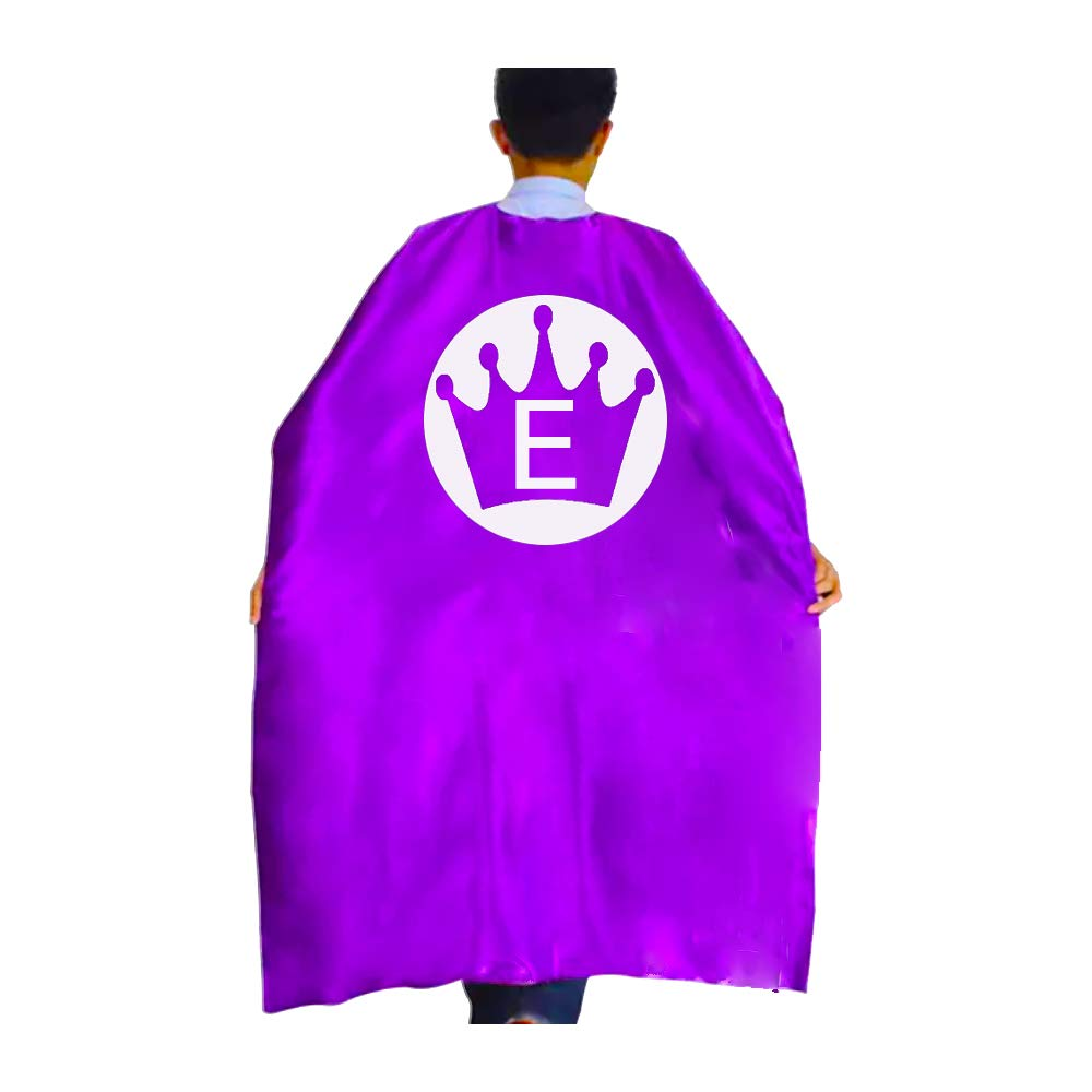 RANAVY Superhero Capes for Kid//Adult Dress Up Birthday Parties Princess Initial 26 Letters 10 Numbers Purple//Pink 27//55