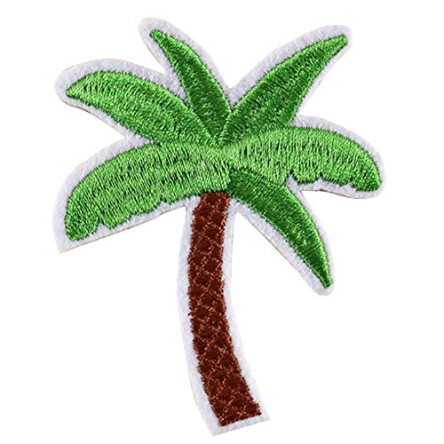 Shineweb DIY Sewing Applique, 5Pcs Coconut Palm Tree Green Embroidered Patch Iron on Patch