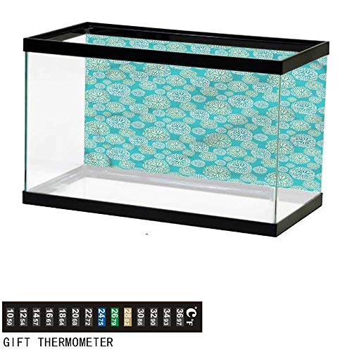 Suchashome Fish Tank Backdrop Teal,Daisy Gerbera Carnations Art,Aquarium Background,48