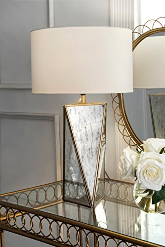 Watch Hill Lighting 20-inch Lauren Mirror Cotton Shade Table Lamp by Watch Hill Lighting