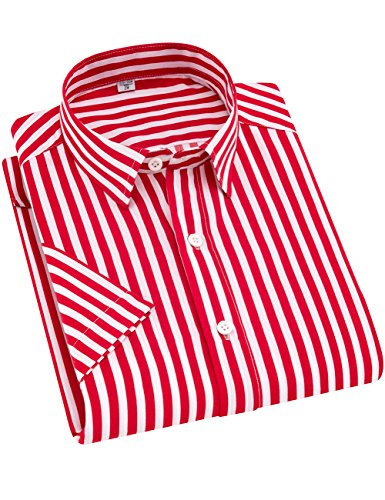 Striped Tailored Suit - ERZTIAY Men's Casual Business Vertical Striped Button Down Short Sleeve Dress Shirts Red
