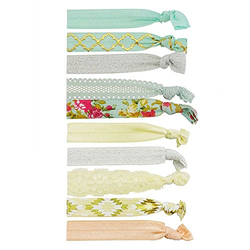 Hairband Acc Hair Holder Bracelet Set - 10 Pack Hairstyle Pony Tail Elastic Holder Gold Blue Floral Geometry Glitter Lace Ribbon Bands For Women Girls Summer Spring - By Snatch from Snatch