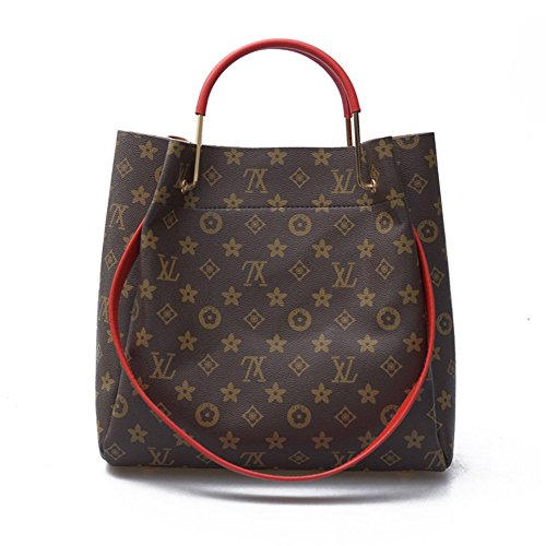 XL Women's Fashion Casual Printed Bag Shoulder Messenger Bag Two Piece-YG1280 (Red) (Fake Vuitton Handbags Louis)