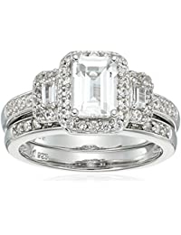 Sterling Silver Octagon Shape, Baguette and Round Lab Created White Sapphire and Matching Band Ring