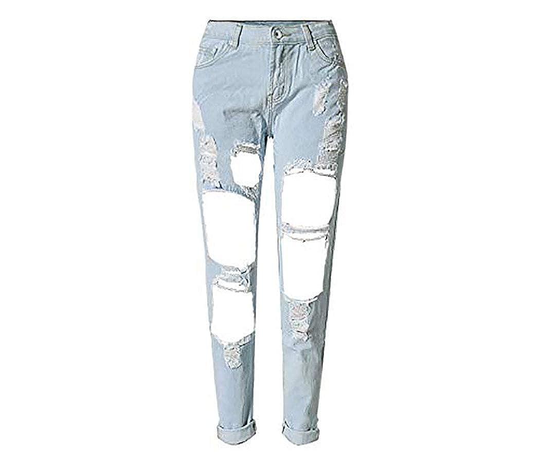 Boyfriend Hole Ripped Jeans Women Pants Cool Denim Vintage Straight Jeans