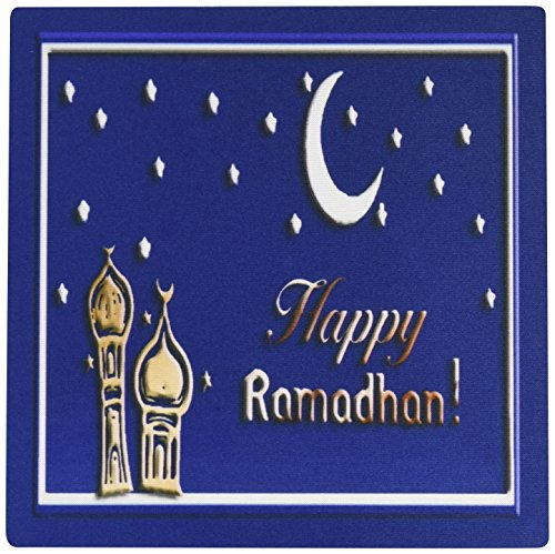 Price comparison product image 3dRose LLC 8 x 8 x 0.25 Inches Mouse Pad, Ramadan Temples with Blue Sky Stars and Moon (mp_22458_1)