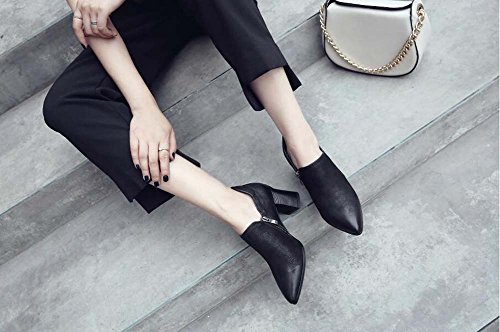 Leather Shoes Shoes Eu Black Zipper Women Dress Pure Heels 42 Pointed 6 Shoes High Elastic 5cm Size Band Heel Fashion Casual Color Pump Court Chunkly 34 Toe AP0qxBY