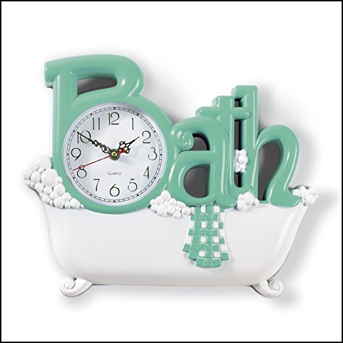 Collections Etc Bathroom Clock Green
